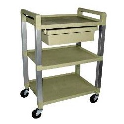 Ideal 3 Shelf Poly Cart w/Drawer